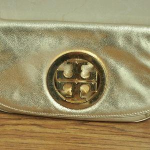 ory Burch Amanda Reva  Clutch Gold Leather
